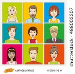 set of cartoon people avatar... | Shutterstock .eps vector #488002207