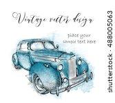 hand drawn vintage postcard. a... | Shutterstock .eps vector #488005063