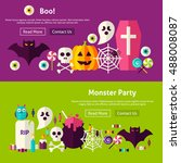scary monster party website... | Shutterstock .eps vector #488008087