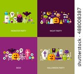 scary halloween concepts set.... | Shutterstock .eps vector #488008387