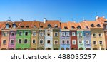 colorful houses on market... | Shutterstock . vector #488035297