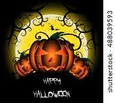 halloween day. pumpkins head on ... | Shutterstock .eps vector #488039593