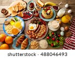breakfast buffet full... | Shutterstock . vector #488046493