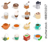tea and coffee set in isometric ...