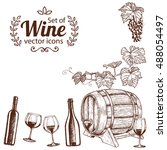 corner frame with wine icons.... | Shutterstock .eps vector #488054497