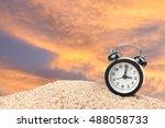 alarm clock on beach and orange ...   Shutterstock . vector #488058733