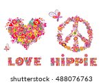hippie print with heart shape ... | Shutterstock .eps vector #488076763