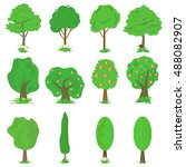 vector collection of green... | Shutterstock .eps vector #488082907