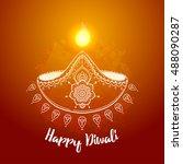 happy diwali. hindu festival... | Shutterstock .eps vector #488090287