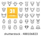 set of farm animals outline... | Shutterstock .eps vector #488106823