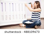 pretty young pregnant woman... | Shutterstock . vector #488109673