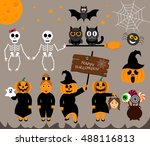 vector set for halloween in... | Shutterstock .eps vector #488116813