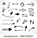 hand drawn arrows  vector set | Shutterstock .eps vector #488139607