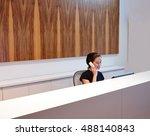brunette receptionist young... | Shutterstock . vector #488140843
