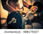 weight lifting in a gym. gym... | Shutterstock . vector #488175037