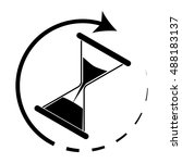 time is running. hourglass... | Shutterstock .eps vector #488183137