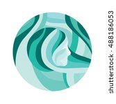 blue vector round icon with... | Shutterstock .eps vector #488186053
