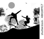 skater silhouettes on park on... | Shutterstock .eps vector #488189917