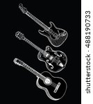collection of stylized guitar.... | Shutterstock .eps vector #488190733