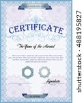blue detailed certificate... | Shutterstock .eps vector #488195827