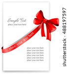 greeting card with a red ribbon.... | Shutterstock .eps vector #488197597