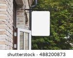empty outdoor signage mockup to ... | Shutterstock . vector #488200873