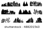 set of tree silhouette isolated ... | Shutterstock . vector #488201563