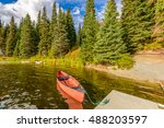 boat on the lake or mountain... | Shutterstock . vector #488203597