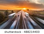 trucks and cars in motion on...   Shutterstock . vector #488214403