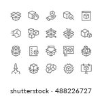 Simple Set of Abstract Product Related Vector Line Icons.  Contains such Icons as Unit, Module, Product Release, Presentation and more. Editable Stroke. 48x48 Pixel Perfect. | Shutterstock vector #488226727
