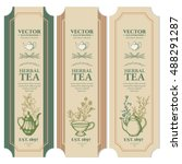 labels herbal tea design ink... | Shutterstock .eps vector #488291287