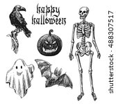 happy halloween. hand drawn... | Shutterstock .eps vector #488307517