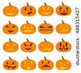 flat graphics on halloween... | Shutterstock .eps vector #488315437