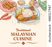 hand drawn of malaysian food ... | Shutterstock .eps vector #488317987
