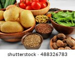vegetables and spices on wooden ... | Shutterstock . vector #488326783
