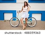 girl fun bicycle | Shutterstock . vector #488359363