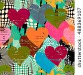 graffiti abstract seamless... | Shutterstock .eps vector #488369107