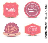 vector set pink quality label... | Shutterstock .eps vector #488373583