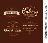 set of bakery badges with bread ... | Shutterstock .eps vector #488377807