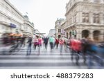 people in motion in the city... | Shutterstock . vector #488379283