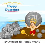 lord hanuman lifting stone with ... | Shutterstock .eps vector #488379643