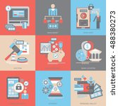 flat vector icons. banking and... | Shutterstock .eps vector #488380273