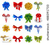set of gift bows with ribbons.... | Shutterstock .eps vector #488391733