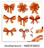 set of red and gold gift bows... | Shutterstock .eps vector #488393803
