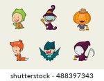 kids in halloween costume  cute ... | Shutterstock .eps vector #488397343