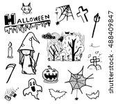 halloween doodle vector set on...   Shutterstock .eps vector #488409847