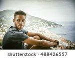 handsome young man in trendy... | Shutterstock . vector #488426557
