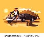 tough man near car | Shutterstock .eps vector #488450443
