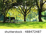 park benches in the city in... | Shutterstock . vector #488472487