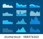 set of different graphs and... | Shutterstock .eps vector #488476363